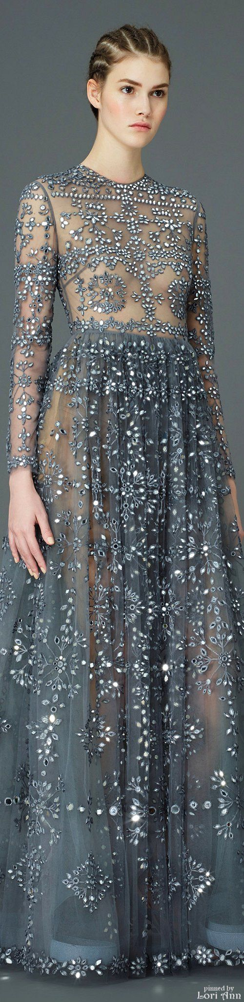 Valentino ~ Long Sleeve Evening Dress, Silver/Grey, Pre-Fall 2015
