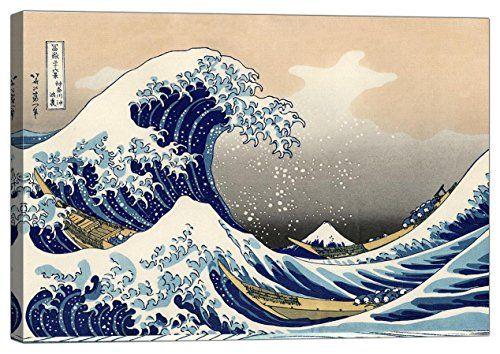 Quadro su Tela con Telaio Katsushika Hokusai The Wave off Kanagawa
