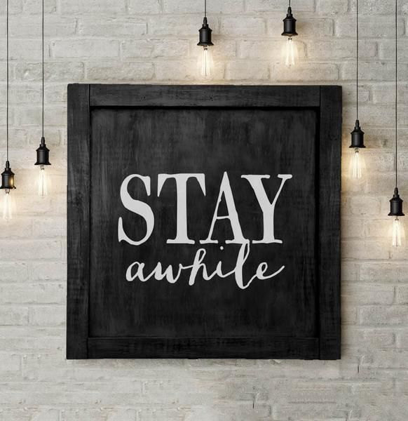This would look so cool in an entryway area - or what about a mudroom??? Stay Awhile Large Farmhouse Wall Sign. Fixer Upper Joanna Gaines inspired wall decor. Made in America.