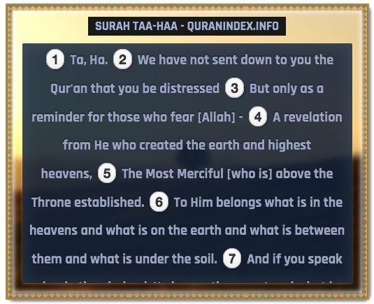 Browse, Read, Listen, Download and Share #Surah Taa-Haa [20] @ https://quranindex.info/surah/taa-haa #Quran #Islam