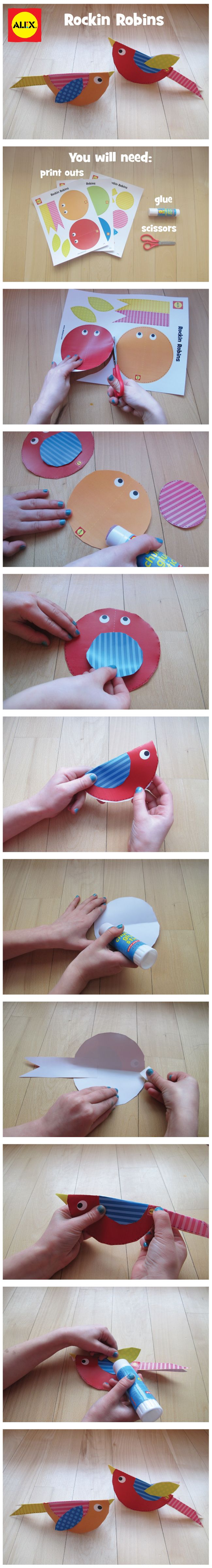 Cut, assemble and paste together these Rocking Robins using our free printable | alextoys.com