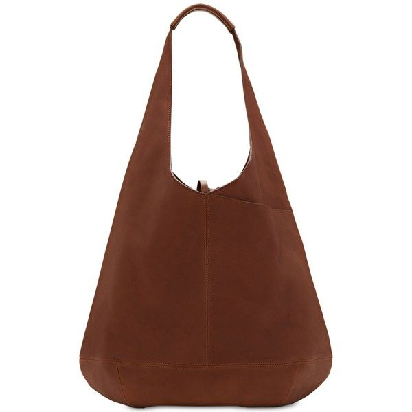 Lucky Brand Mia Hobo ($198) ❤ liked on Polyvore featuring bags, handbags, shoulder bags, toffee, brown leather purse, leather hobo purses, leather handbags, brown shoulder bag and slouch shoulder bag