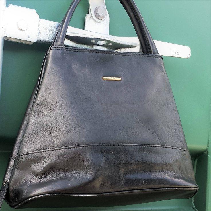 Vintage Nova Black Leather Purse, Black leather handbag, Soft black leather bag.  Tote satchel bag by LuckSy on Etsy
