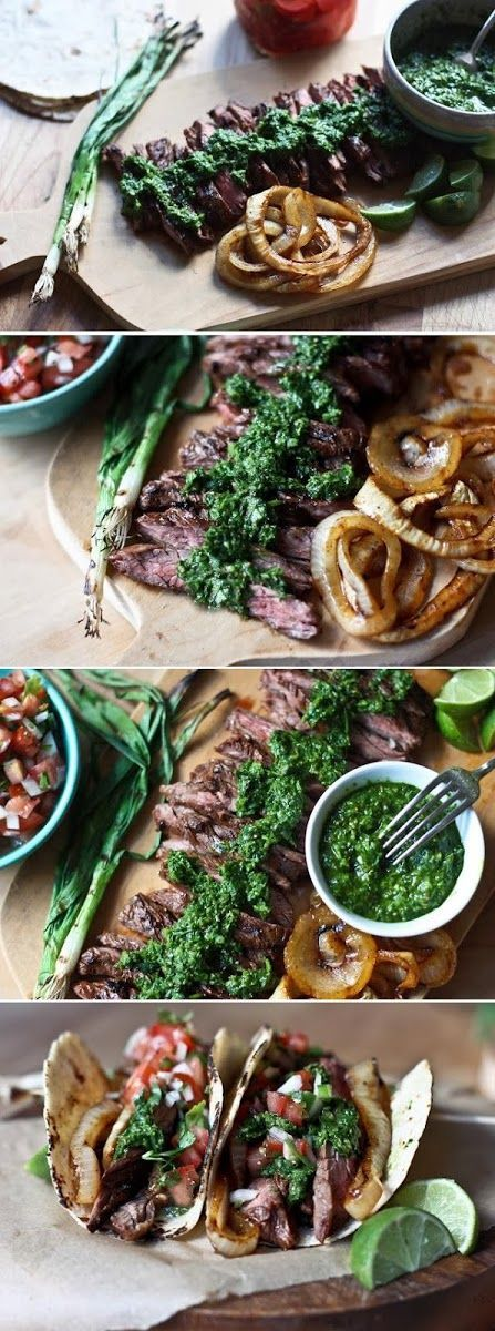 Grilled Steak Tacos with Cilantro Chimichurri Sauce ...a Mexican feast you will want to make over and over.