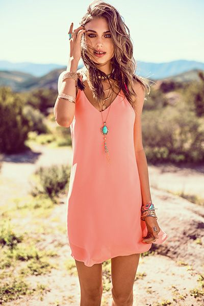 Urban Planet's Coral Shift Dress is perfect for a festival date or a night of summer fun. Hashtag Gorgeous and Unique