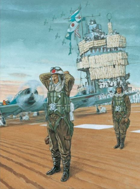 "On board Akagi, Cmdr Mitsuo Fuchida prepares to take off to attack Pearl Harbor. Fuchida ties a hachimaki around his head, with ""Certain Victory"" on it."