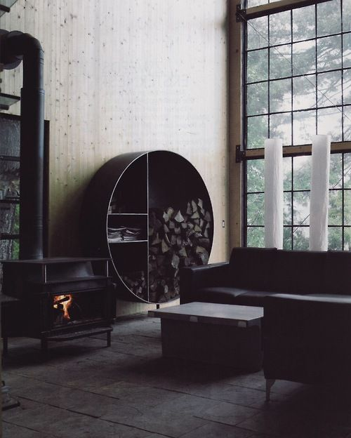 #industrial space with vintage #fireplace