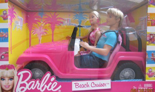 Barbie BEACH CRUISER Jeep Vehicle Car w KEN  BARBIE Doll 2010 >>> Want additional info? Click on the image.