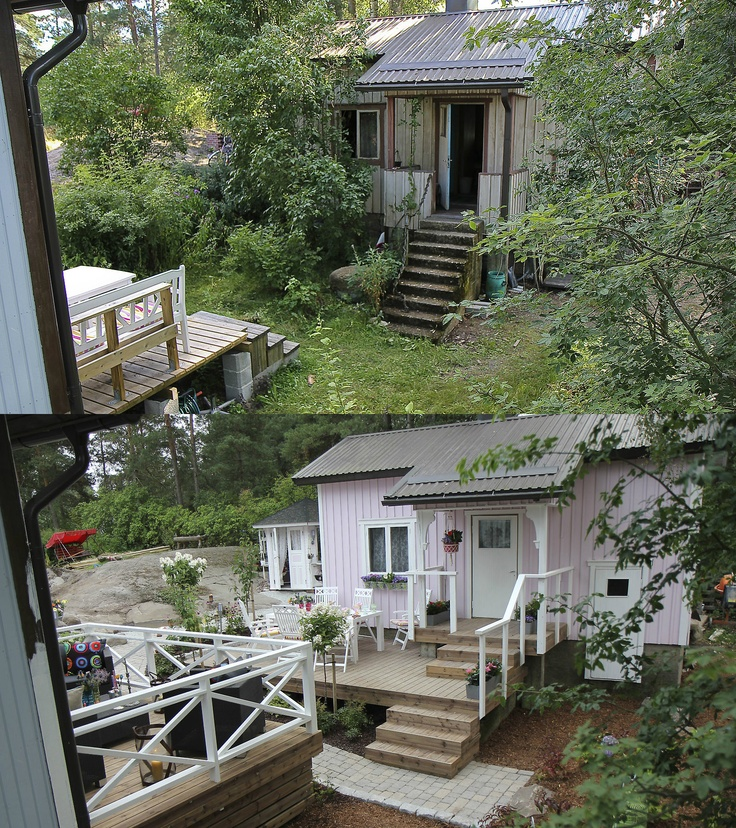 The old sauna cottage before and after