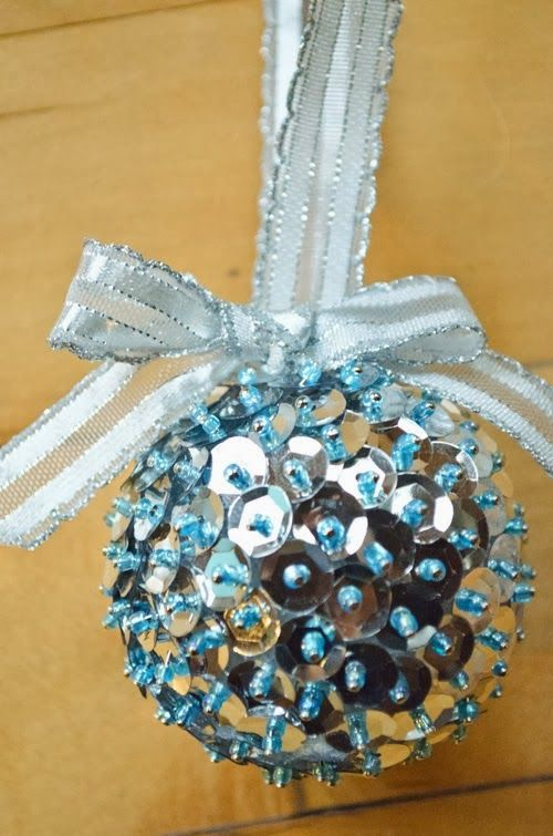 Create vintage inspired ornaments with styrofoam balls, sequins, seed beads, and sequin pins! via www.blitsycrafts.com Get the supplies to on sale at www.blitsy.com