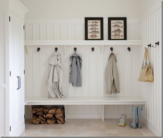 I would use a picture ledge above the hooks and a tiny shelve with baskets near the ground