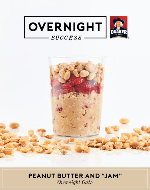 Experience #OvernightSuccess with these overnight oats! Peanut butter, fresh strawberries and honey are topped with crushed roasted peanuts, making every bite a feast for the senses. More recipe details and tips at OvernightOats.ca