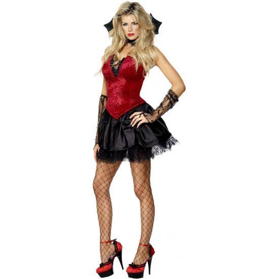 Sexy vampieren kostuum voor dames. Compleet vampier kostuum voor dames bestaande uit een korsetjurkje met kanten petticoat, een kraag en handschoenen.