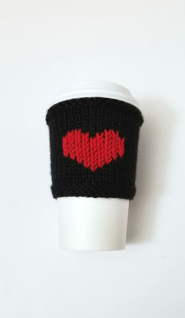 Black coffee cozy knit coffee cup sleeve sparkly red heart