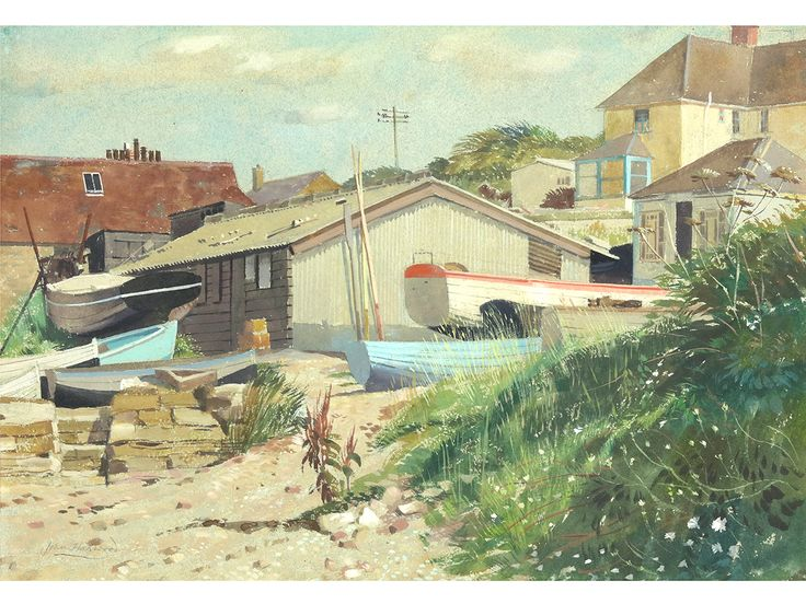 'At Swanage, Dorset' by John Hammond Harwood (1904-1980). Original watercolour & gouache, signed & framed.  #art #artgallery #paintings #artforsaleonline #artlover #art🎨 #artcollector #seascape #boatyard #watercolor #watercolour #gouache #jurassiccoast #dorset #swanage