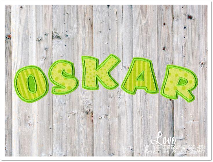 Bügelbilder - Name Applikation 5 Buchstaben lime grün Aufnäher - ein Designerstück von Love_Letters bei DaWanda