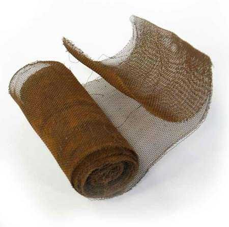 5 foot long roll and 3-1/2 inch wide rusty tin wire mesh netting can be used as ribbon, garland and for other objects. The netting is similar to the fine mesh screen in an old fashion screen door. The rusty tin netting screen is thin and easily cut with scissors. It has been aged to a nice rustic patina. Kind of reminds you of an old antique screen door's mesh screen. (4.49)