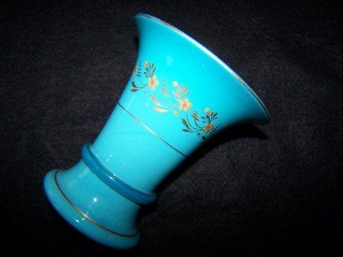 Le Creusot Jasmins Vase in Turquoise Opaline