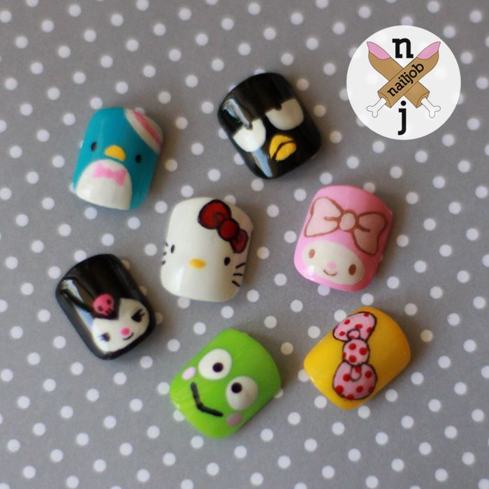 nailjob:  My Sanrio Baes Some Sanrio characters on nails. With all kinds of polishes and paint.