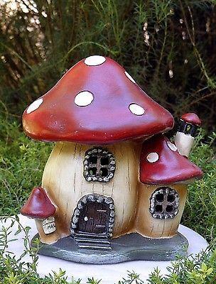 Miniatura De Casa De Muñecas Hadas Gnomo De Jardín ~ Hongo Casa Cottage Con Luz ~ nuevo