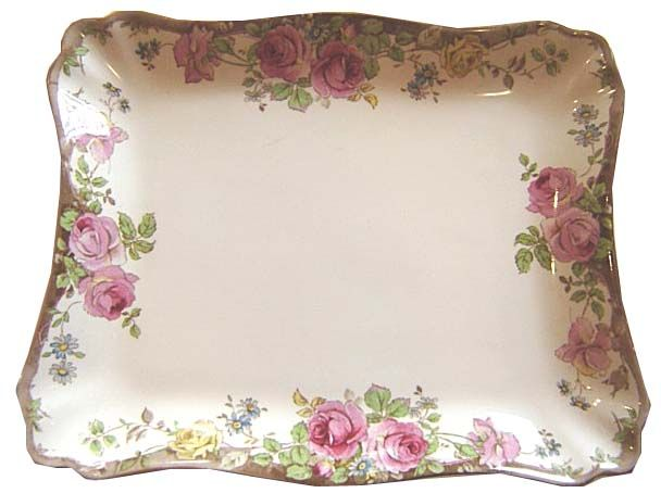 Rectangular Cake Plate with single roses on long sides