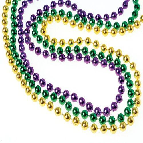 mardi+gras+beads | Bulk Mardi Gras 6mm Bead Necklaces