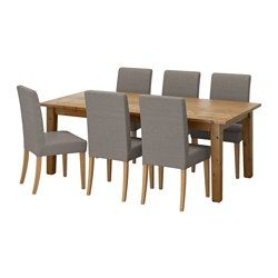 STORNÄS / HENRIKSDAL, Table and 6 chairs, antique stain, Nolhaga gray-beige