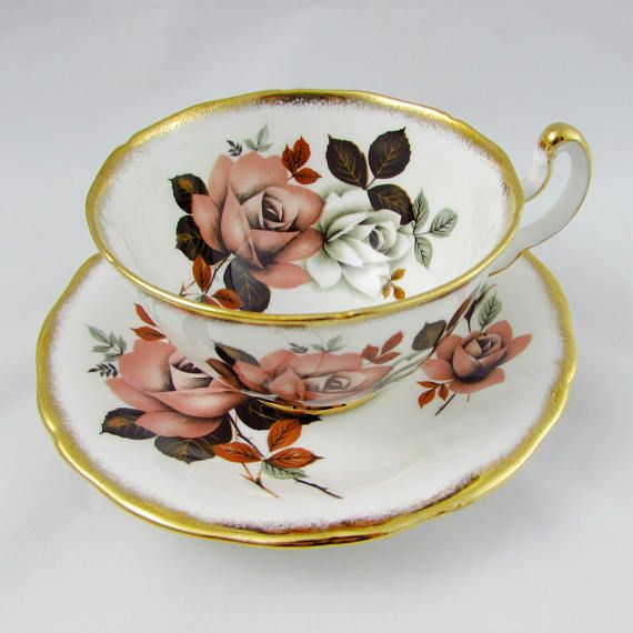 Vintage Tea Cup and Saucer, Bone China, by Royal Adderley with Roses