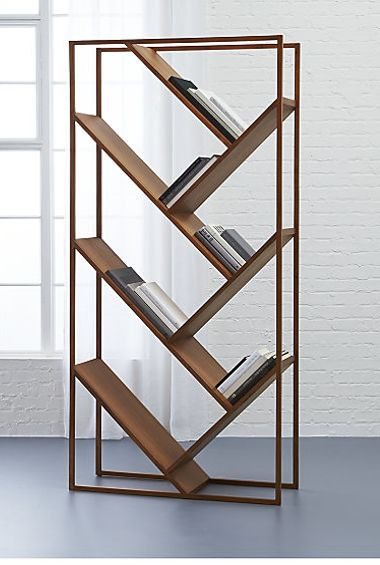 V Bookcase-room Divider-Use this striking bookcase against a wall or to divide a space from @cb2pins  Unique bookshelves, modern storage, room dividers