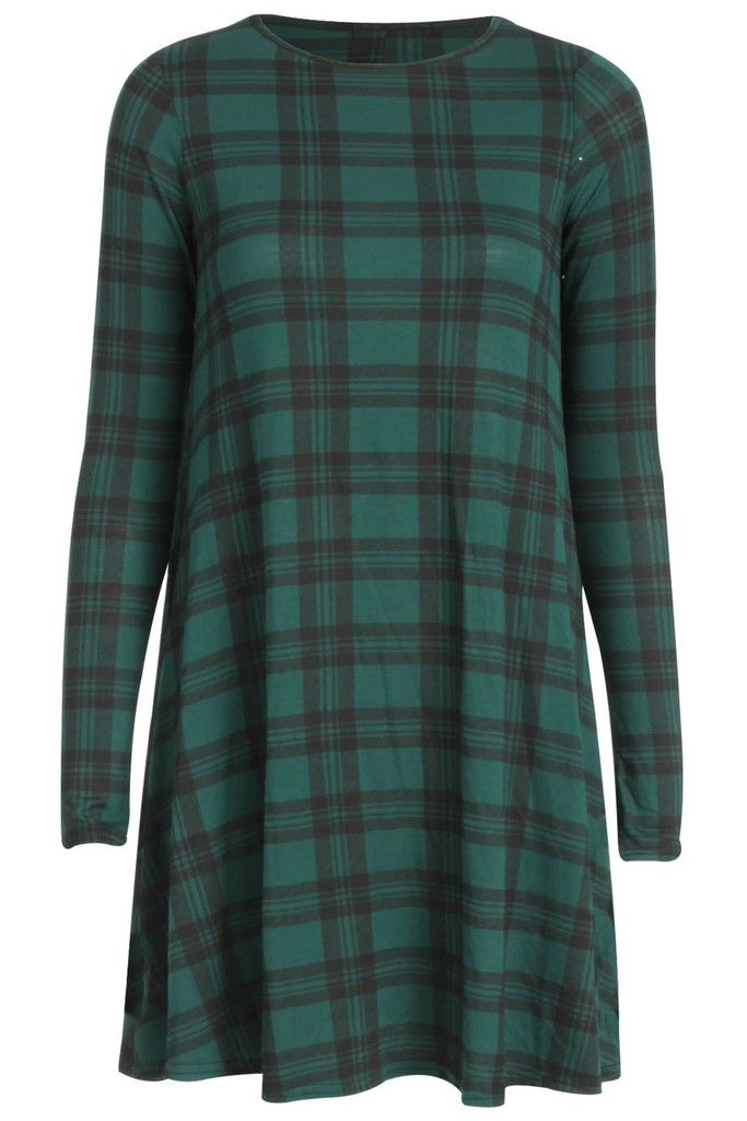 Ladies Green Tartan Swing Dress