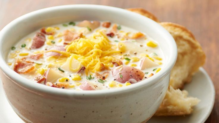 Hearty and creamy, this classic corn and potato soup gets extra oomph from our favorite ingredient -- bacon. It only takes a few minutes to pull together, and then the slow cooker will do all the work.