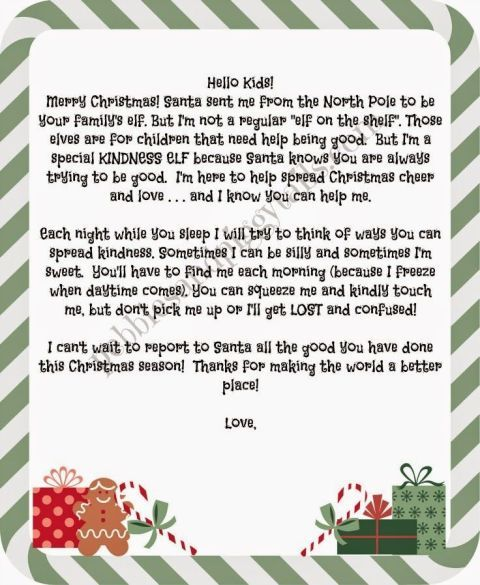 Introduce your Kindness Elves with a letter.