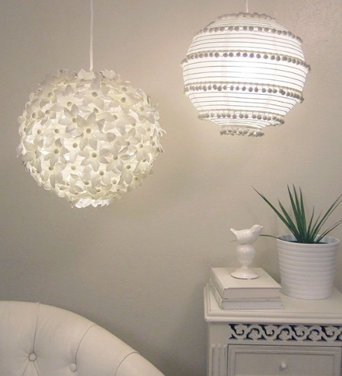 diy - two paper lanterns flowers and pom-poms - www.craftynest.com