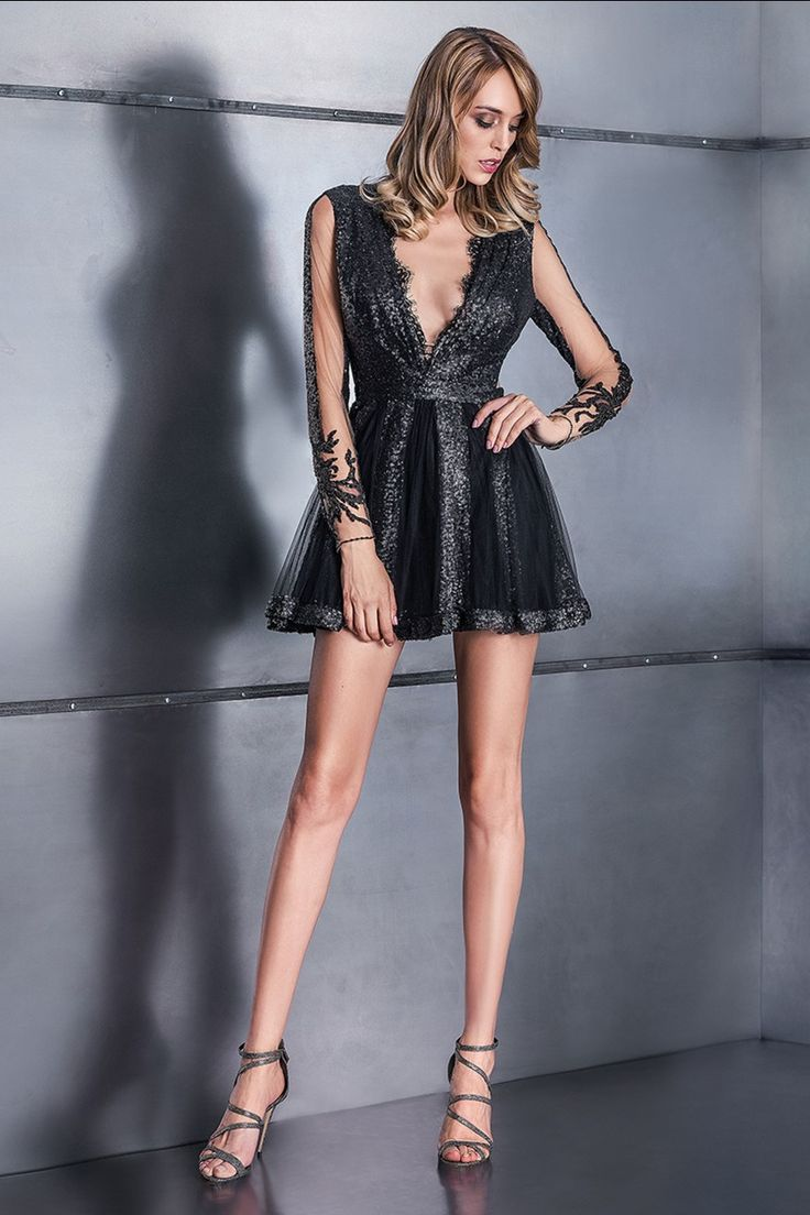 Sequins and lace little Black dress