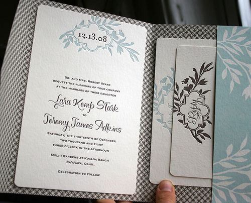 Love the name font. and if you are into patterns, they've got you covered. :) Letterpress wedding invitations - custom pocketfold - Smock by Smock Letterpress, via Flickr