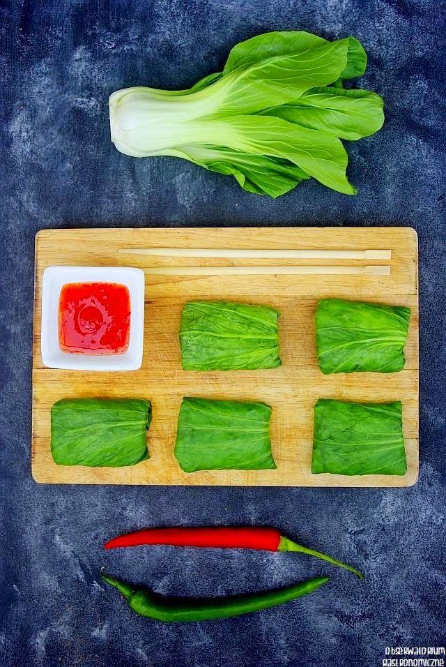 Sakiewki z makaronem ryżowym i warzywami
