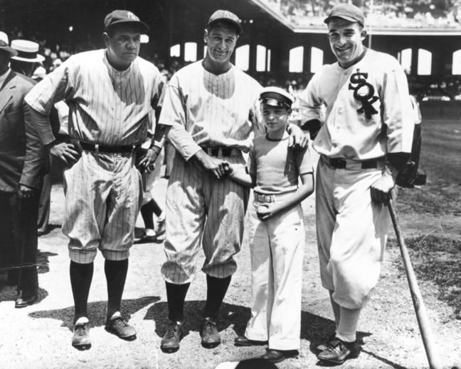 Babe Ruth, Lou Gehrig, Ed Diamond, and Al Simmons at the 1933 All-Star Game in Comiskey Park, Chicago - BL-8382-94 (National Baseball Hall of Fame Library)
