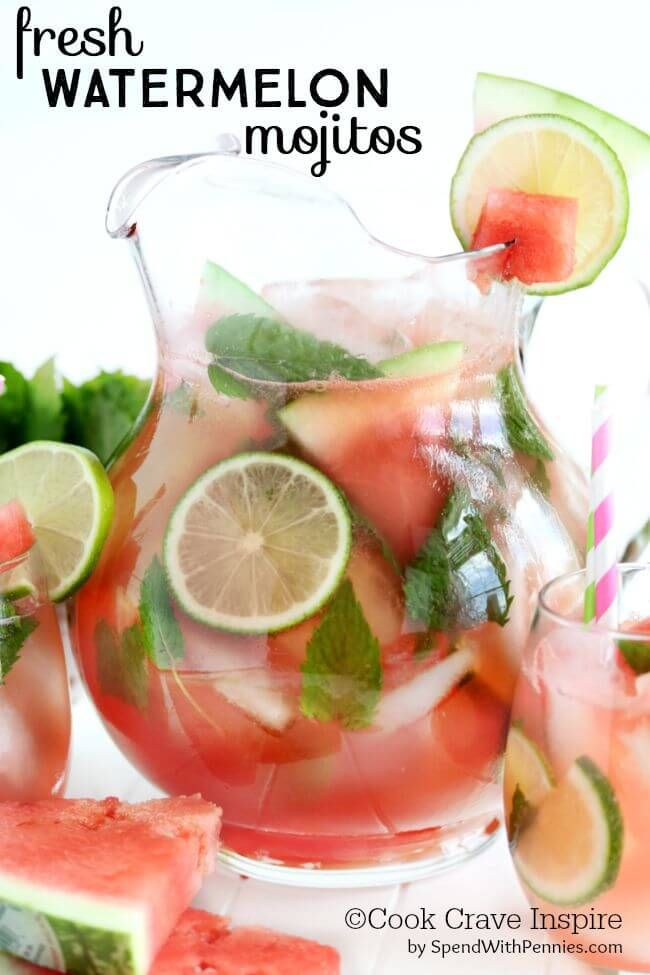 Fresh Watermelon Mojitos!  Fresh watermelon, lime, mint and soda make the perfect summer cocktail!  Skip the rum to make a non-alcoholic mocktail!