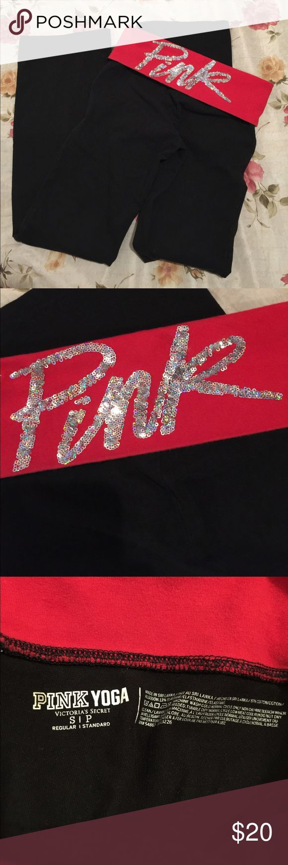 VS PINK YOGA PANTS VS PINK YOGA PANTS SIZE SMALL. GENTLY USED. NO HOLES OR STAINS ❤️ BLACK WITH RED FOLD OVER AND COLORFUL SEQUINS ON BACK 😍 PINK Victoria's Secret Pants