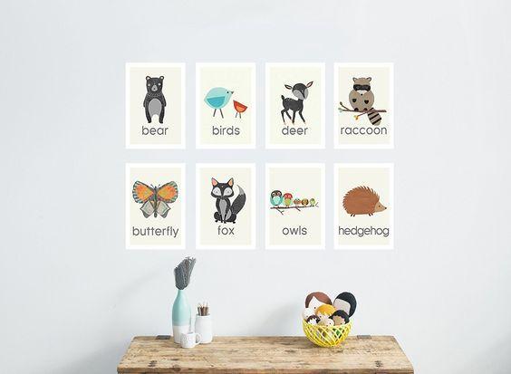 Amazon.com : Nature Animal Mini Print Collection, 5x7 Wall Cards, Nursery Wall Art Decor, Kid's Art Decor, Gender Neutral Nursery, Forest Animals, Woodland Nursery, Nature Themed Wall Art, Preschool Decor : Baby