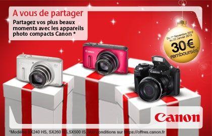 Remboursement de 30€ sur certains appareils photo compact Canon