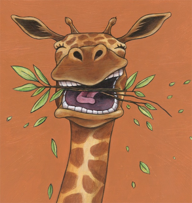 Sometimes Giraffe chews with his mouth open.