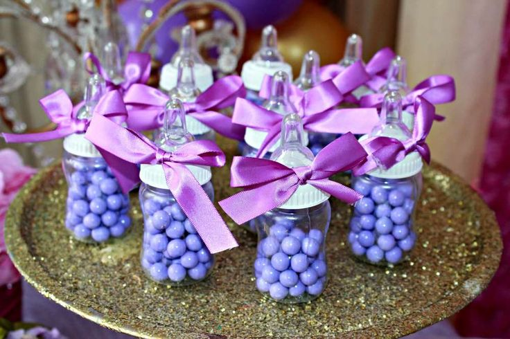Purple and gold baby shower party candy filled bottles! See more party planning ideas at CatchMyParty.com!