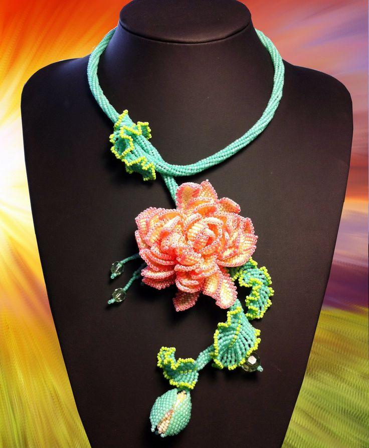 FREE SHIPPING OOAK handmade floral beaded by Gemsplusleather