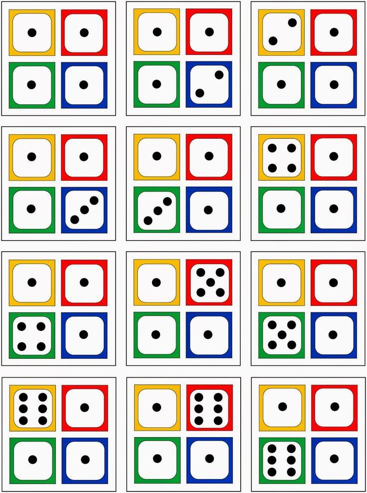 4 Würfelbilder zur Erfassung von Anzahlen