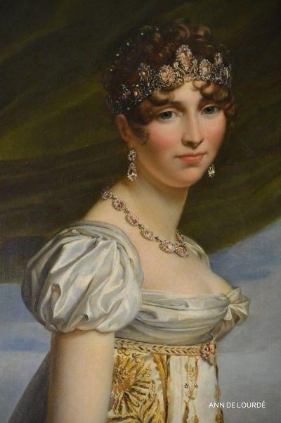 Hortense de Beauharnais, Queen Consort of Holland Detail by François Gérard 1807   Spring 2016, La Galerie de Portraits de la Famille de Imperiale, Le Château de Fontainebleau, Fontainebleau, France.