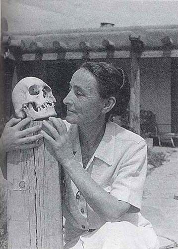 Georgia O'Keeffe and Skull, Ghost Ranch House Patio 1942