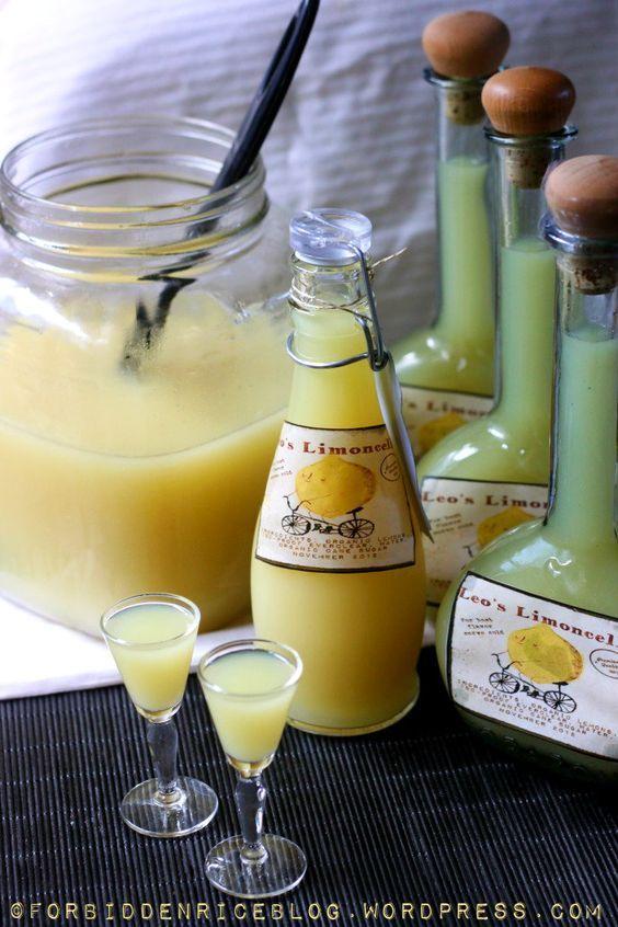 Homemade Limoncello...lemon liqueur from Italy's Amalfi Coast.