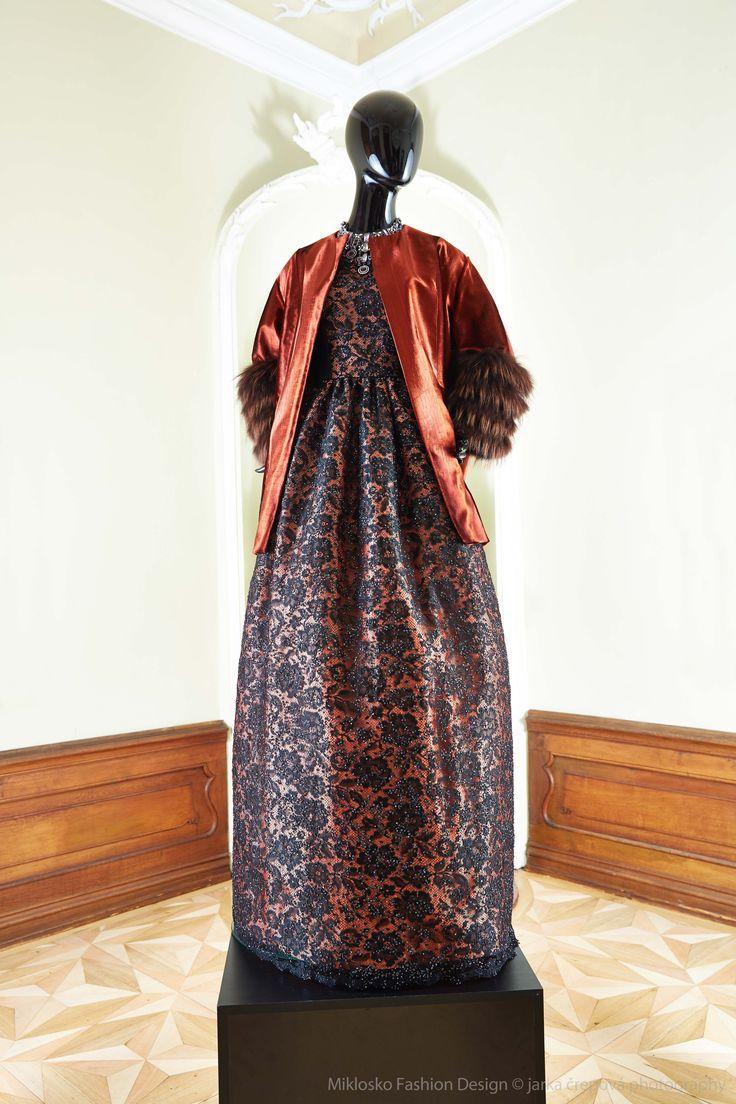 5. MFD Black and salmon ball gown with dark orange jacket. www.mikloskofashiondesign.sk