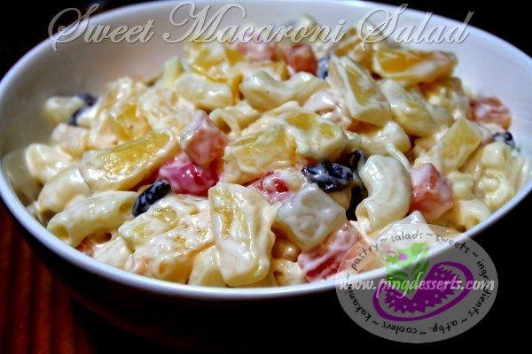 Sweet Macaroni Salad Recipe http://www.pingdesserts.com/sweet-macaroni-salad-recipe/